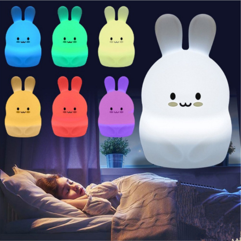 LED Night Light Colorful Children's Night Light Cute Rabbit Pat Light USB Silicone Night Light 2.4G RF Remote Control