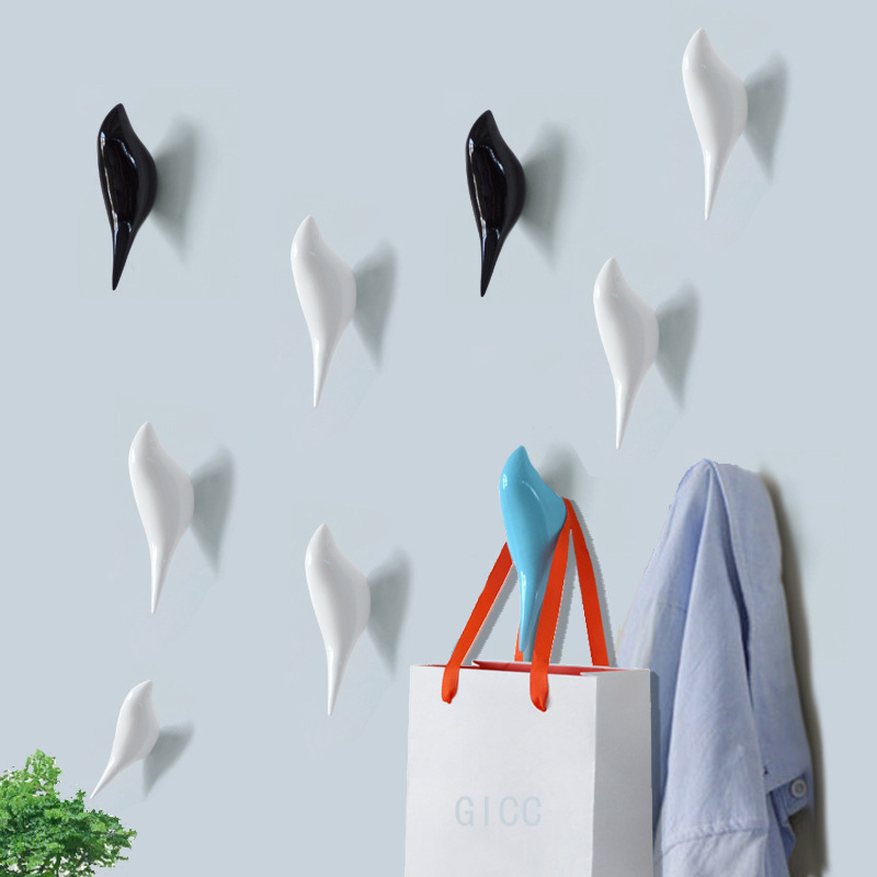 Creative Bird Shape Wall Hooks Home Decoration Storage Resin Wood Grain Storage Rack Bedroom Door After Coat Hat Hanger Hook