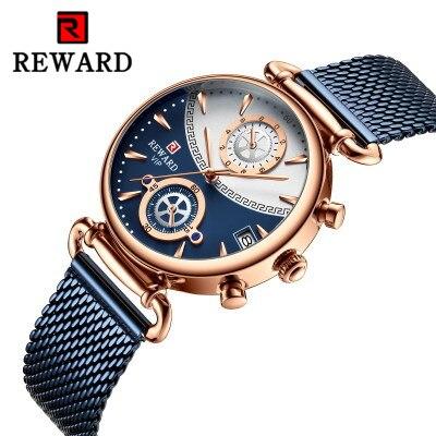 Reward Women's Watches Waterproof Fashion Casual Watches Top Brand Sports Ladies Mesh Quartz Watches For Women Relogio Feminino