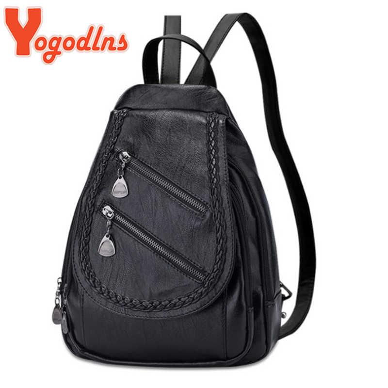 Yogodlns 2020 kobiet plecak na co dzień wielofunkcyjne kobiety skórzany tył paczka małe torby na zamek błyskawiczny Student Bagpack stałe