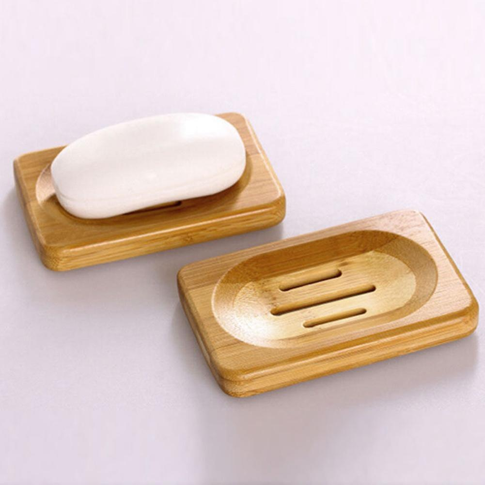 Natural Bamboo Wood Bathroom Shower Soap Tray Dish Storage Holder Plate Soap Rack Plate Box Container Handmade Drain Soap Box