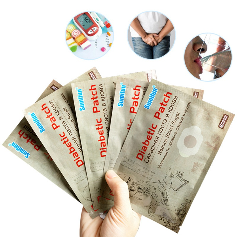 6Pcs/Bag Diabetes Patch Lower Blood Glucose Patches Chinese Herbal Medicine Reduce Blood Sugar Balance Plasters