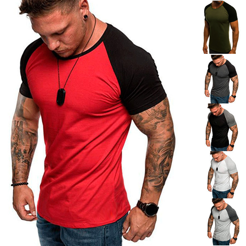 WZFJM Men's Fashion Short Sleeve Cotton T-shirt Casual Bodybuilding Jogging Gyms Fitness Tees Slim Fit Tops Brand Clothing