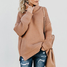 Women Retro Turtleneck Knitted Long Pullovers Autumn Winter Casual Loose Solid Sweaters Thick Knitting Jumper Pull