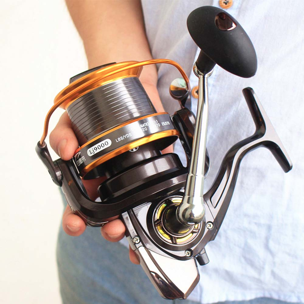 Metal Spool Spinning Reel 12+1BB 13Ball Bearings Left/Right Interchangeable LJ9000 Super Big Sea Fishing Wheel High Speed 4.11:1 image