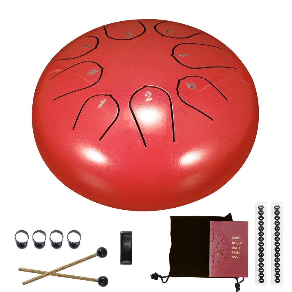 Барабан для языка, 6 дюймов, стальной барабан для языка, 8 настраиваемых ручных цилиндров, цилиндры с барабанными палочками, сумка для перено...