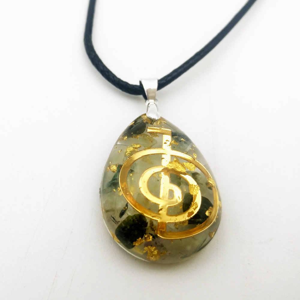 Pendentif Orgonite en forme de goutte d'eau avec symbole Cho Ku Rei-richesse, amour, méditation Orgone, aimant d'argent-Talisman