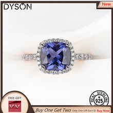 925 Sterling Silver Ring Created Tanzanite Gemstone For Women Girls Birthday Gifts Luxury Delicate Fine Jewelry Rose Gold Plated