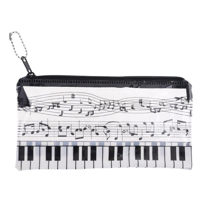 Plastic Transparent Music Note Piano Keyboard Pencil Case Pen Bag Student Gift