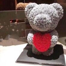 Artificial Rose Flower Panda 40cm/25CM Flowers Home Gift Teddy Bear Adorn DIY Wedding Commemorate Christmas Decoration