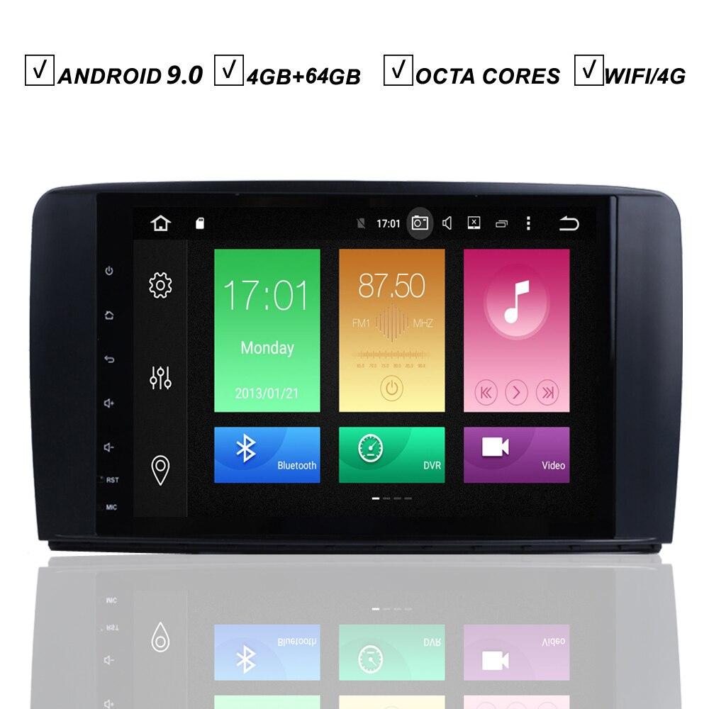 Lecteur DVD GPS de voiture 9''Android 9.0 pour Mercedes Benz classe R W251 R280 R300 Octa 8 Core 4G + 64G Radio Bluetooth WIFI/4G SAT NAVI