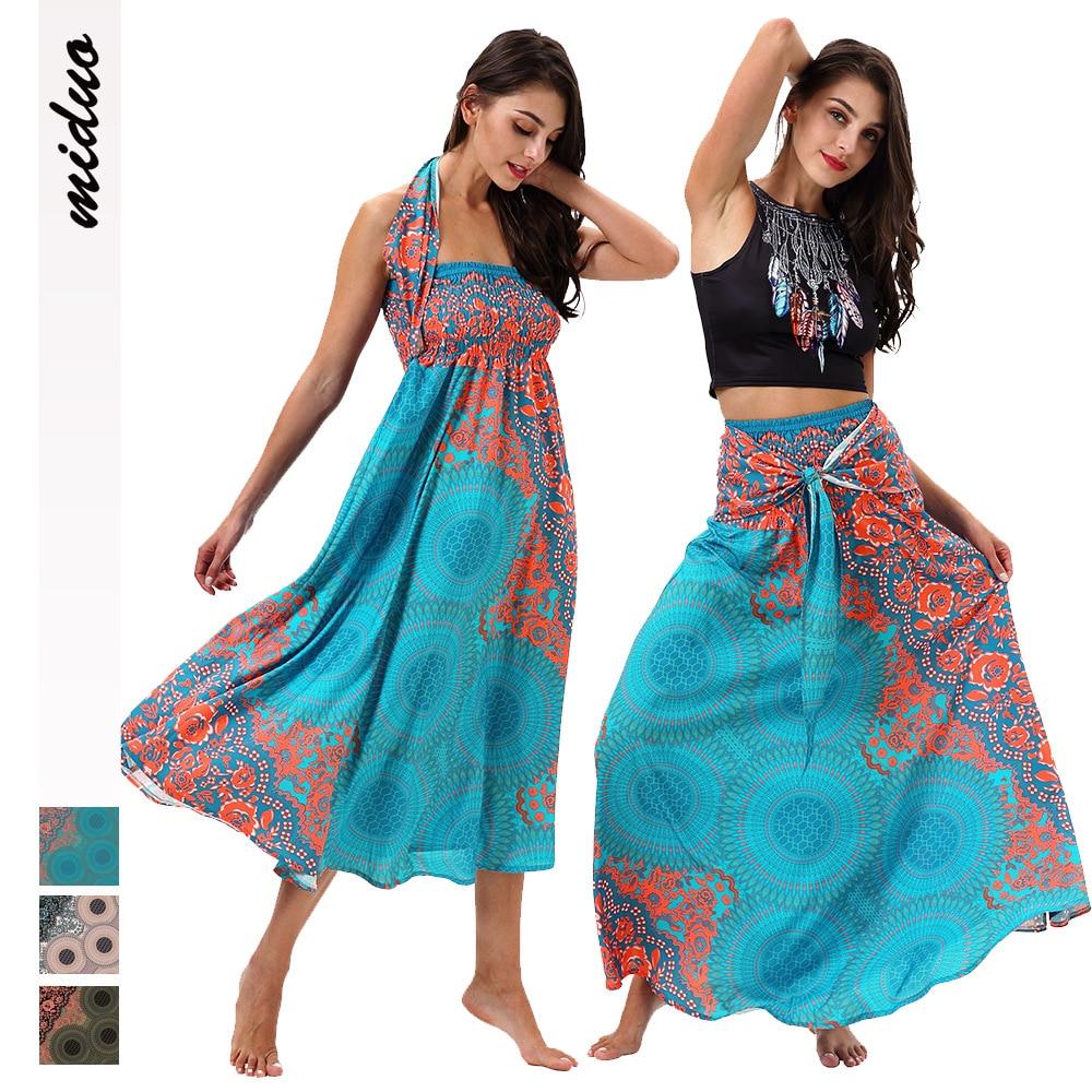 Cross Border Bohemian Digital Printing Mid-length Strapped Dress Beachwear Double Purpose Tee Dress Big Skirt Fashion