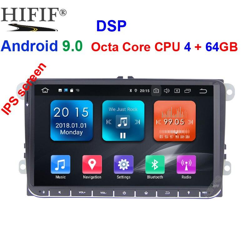4G 64G Android 9 2 Din autoradio stéréo GPS pour VW Passat B6 CC Polo GOLF 5 6 Touran Jetta Tiguan Magotan siège DSP pas de DVD