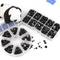 Ojos de seguridad de plástico negro para niños, cuentas acrílicas semiredondas de 3-8mm para muñeca de oso, artesanía de animales, juguetes para niños, accesorios para ojos