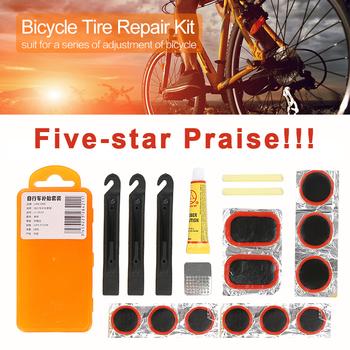 Przenośne narzędzia do naprawy rowerów górskich zestaw narzędzi rowerowych dla rowerzystów opona rowerowa Tube Patch klej zestaw naprawczy Mender akcesoria tanie i dobre opinie Zestawy do naprawy opon Bike Repair Tool 14*6 5*2 3CM 6*25MM film 3*30MM film 2*32MM film 1* glue 1* file 3* tire spoon