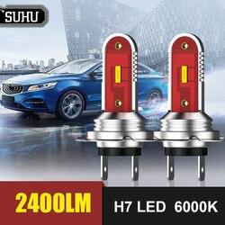 SUHU 2Pcs H7 60W 5050 CSP LED Headlight Kit 2400LM 6000K White Running Auto Fog Head Lamp Bulbs Headlights Kits Car Accessories