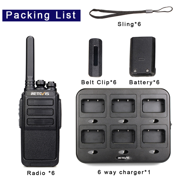 RETEVIS RT28 Walkie Talkies 6 pcs PMR Radio VOX PMR 446 FRS Portable Mini Two Way Radio Station Transceiver with six way charger 6
