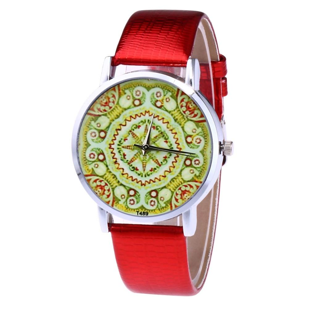 Fashion Quartz Watch Mens Womens Couple Electronic Watch Geometric Symmetrical Pattern With PU Wrist Strap LL@17