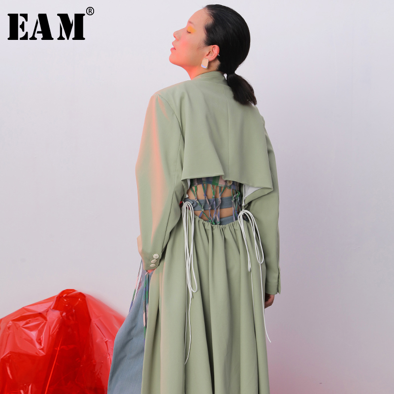 [EAM] Loose Fit  Hollow Out Backless Bandage Jacket New Lapel Long Sleeve Women Coat Fashion Tide Spring Autumn 2021 JZ181