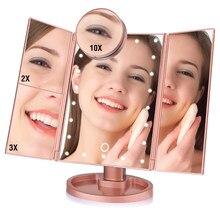 22 LED Light Touch Screen lusterko do makijażu 10X szkło powiększające kompaktowe lustro kosmetyczne elastyczne kosmetyki lustra