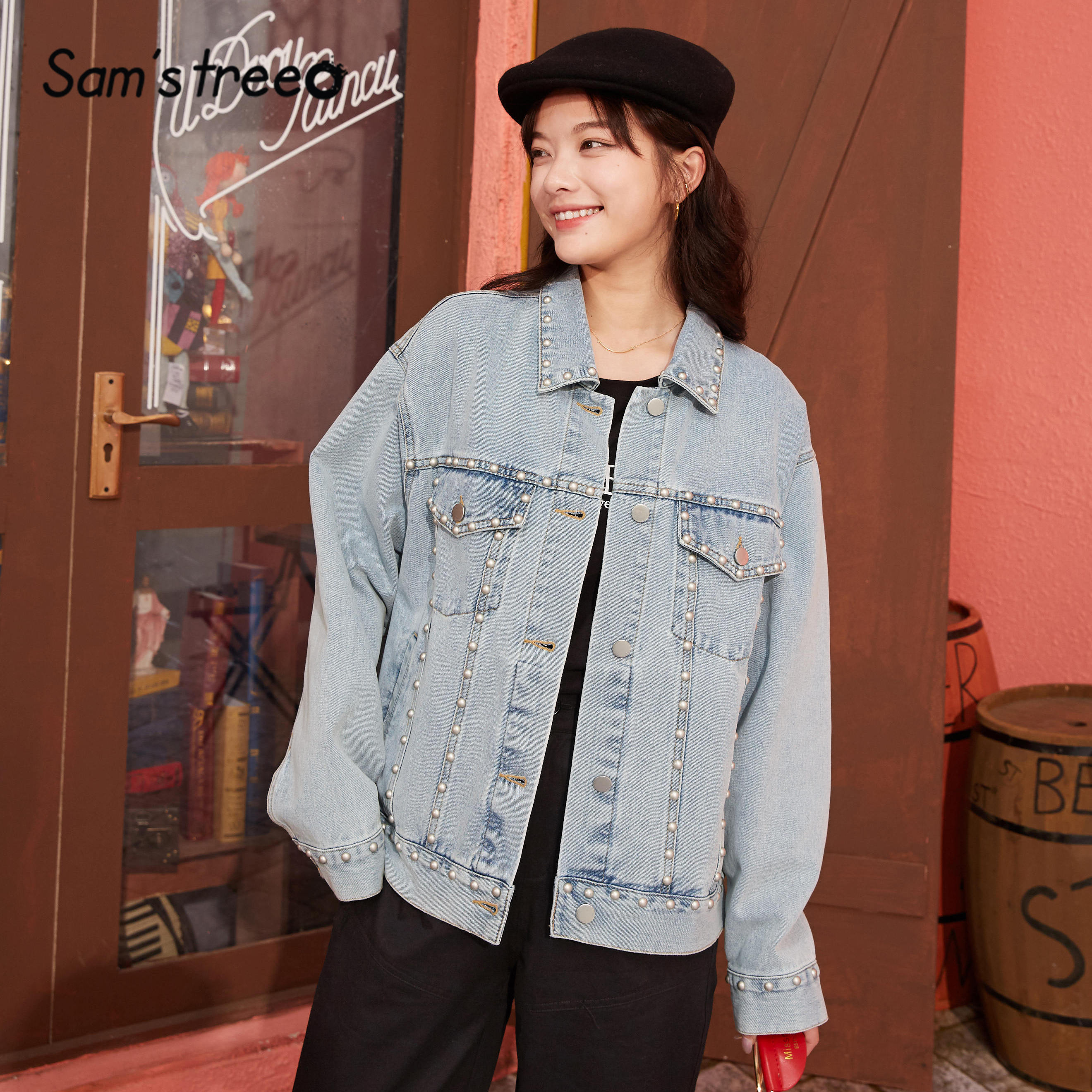 SAM'S TREE Blue Solid Rivet Washed Loose Casual Women Jacket 2020 Spring New Korean Style Long Sleeve Ladies Daily Denim Coats