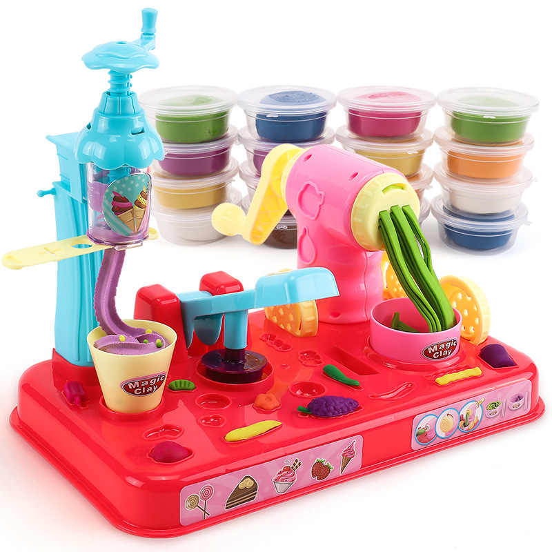 Colored Clay Plasticene Ice Cream Tool Kit Mold Machine Noodle Maker 1-3-6 a Year of Age Play House Toys GIRL'S