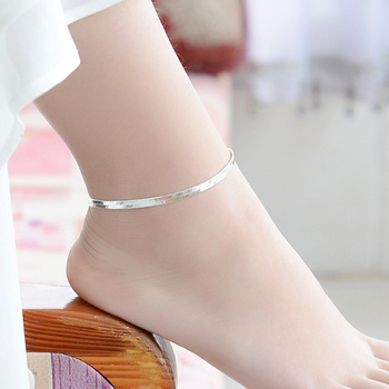 New Arrival Anklet 925 Sterling Ladies Silver Anklets Bracelet Flat Snake Chain For Women Foot Jewelry Barefoot Sandals Anklets 5