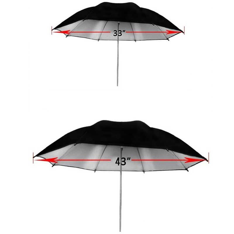 """Pomóc Flash 85cm 33 """"105cm 43"""" srebrny zdjęcie parasol Studio reflektor odbłyśnik kamery fotografia akcesoria metalowe kości parasola"""
