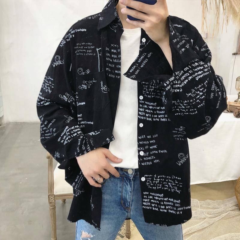Long Sleeve Shirt Men Women 2019 Spring Autumn Japanese Streetwear Fashion Harajuku Shirts Hip Hop Clothes Letter Print Shirt