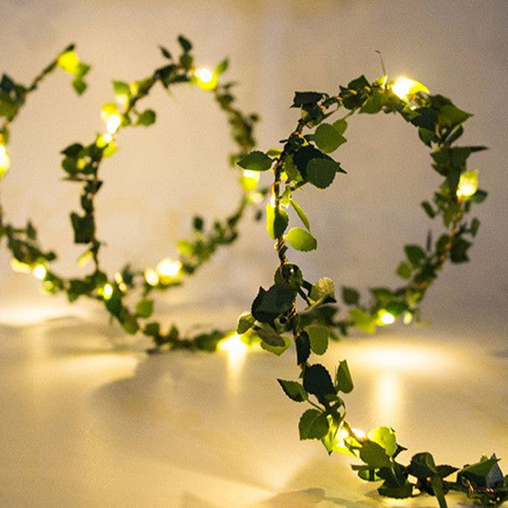 2m 20 LED Leaves Garland Fairy Light Led Copper Wire Battery String Lights For Wedding Forest Table Christmas Home Party Decor