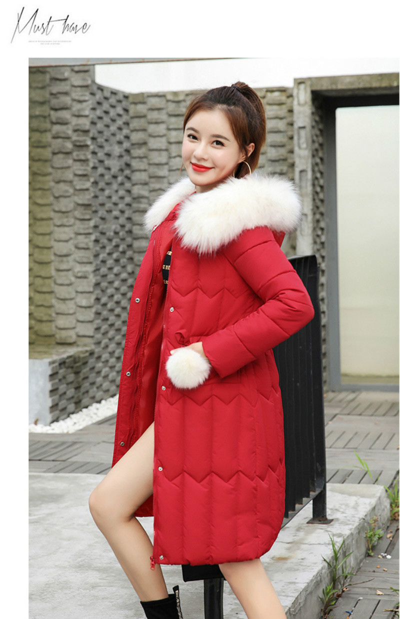 Plus size winter coat women padded cotton hooded women long jacket outwear slim white warm vintage female parka new 2019 DR1195 (22)