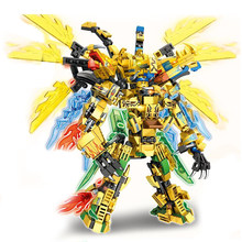 Nova digital ninja 727 pçs 4 in1 guerra chariot dragão dourado modelo blocos de construção tijolos brinquedos presente natal para as crianças
