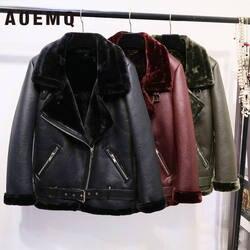 AOEMQ Ретро Новый нагрудные и бархат мягкий мех один пальто теплая Модная искусственная кожа ягненка волос мотоцикл Костюмы Курточка бомбер