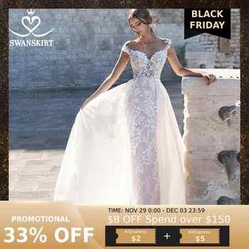 Sweetheart Detachable Train Wedding Dress Swanskirt N130 Appliques Mermaid Appliques Bridal Gown Customized Vestido de novia - Category 🛒 Weddings & Events