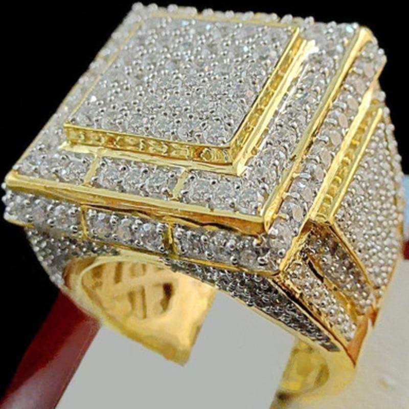 CZ Stone Huge  Rings For Men Women White Zircon Engagement Jewelry male Hip Hop BIG Wedding Rings