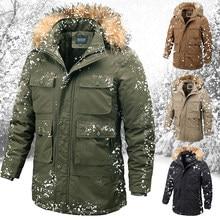 Зимняя мужская куртка, парка, пальто размера плюс с меховым воротником, теплое пальто с множеством карманов, спортивная Рабочая куртка для у...