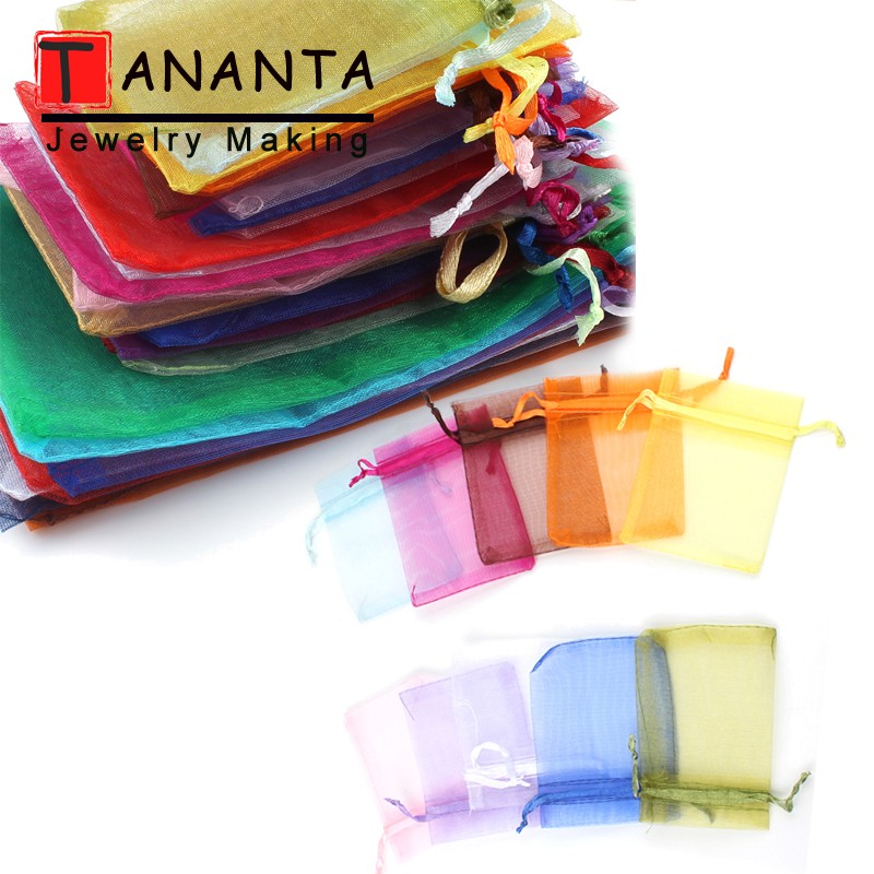 50pcs/lot Colorful Drawstring Organza Bags 5x7 10x15 13x18cm Jewelry Packaging Bags Wedding Party Decoration Bags Gift Pouches