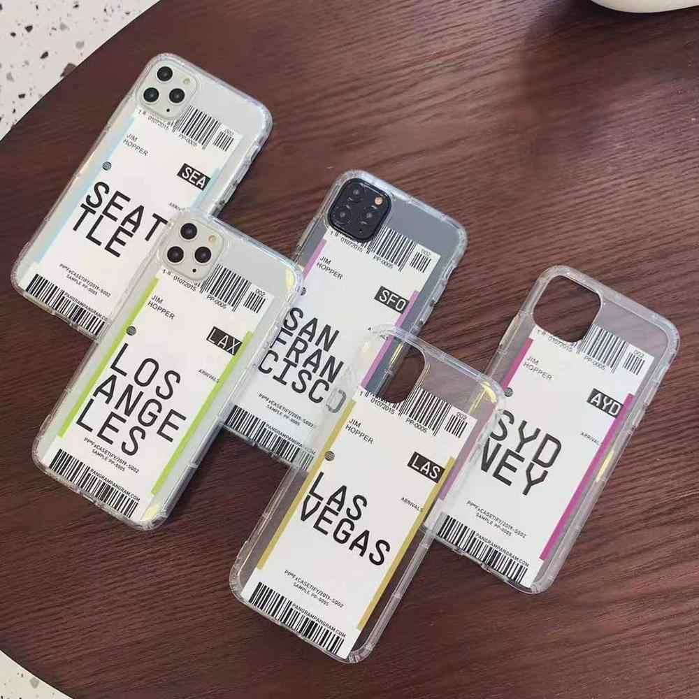INS بار بطاقة تعريف بالكود لندن باريس الولايات المتحدة مدينة واضح لينة بولي TPU الطيران تذكرة الهاتف حقيبة لهاتف أي فون 11ProMAX XR XS 6 7 8 Plus الغطاء الخلفي
