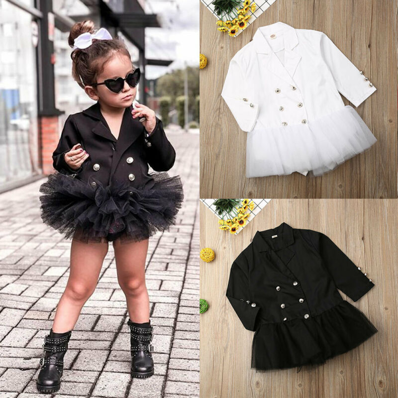 Infant  Children  Clothes Baby Girls Long Sleeve Formal Lace Dress Suit Skirt Get Together Clothes Casual Suit Dress