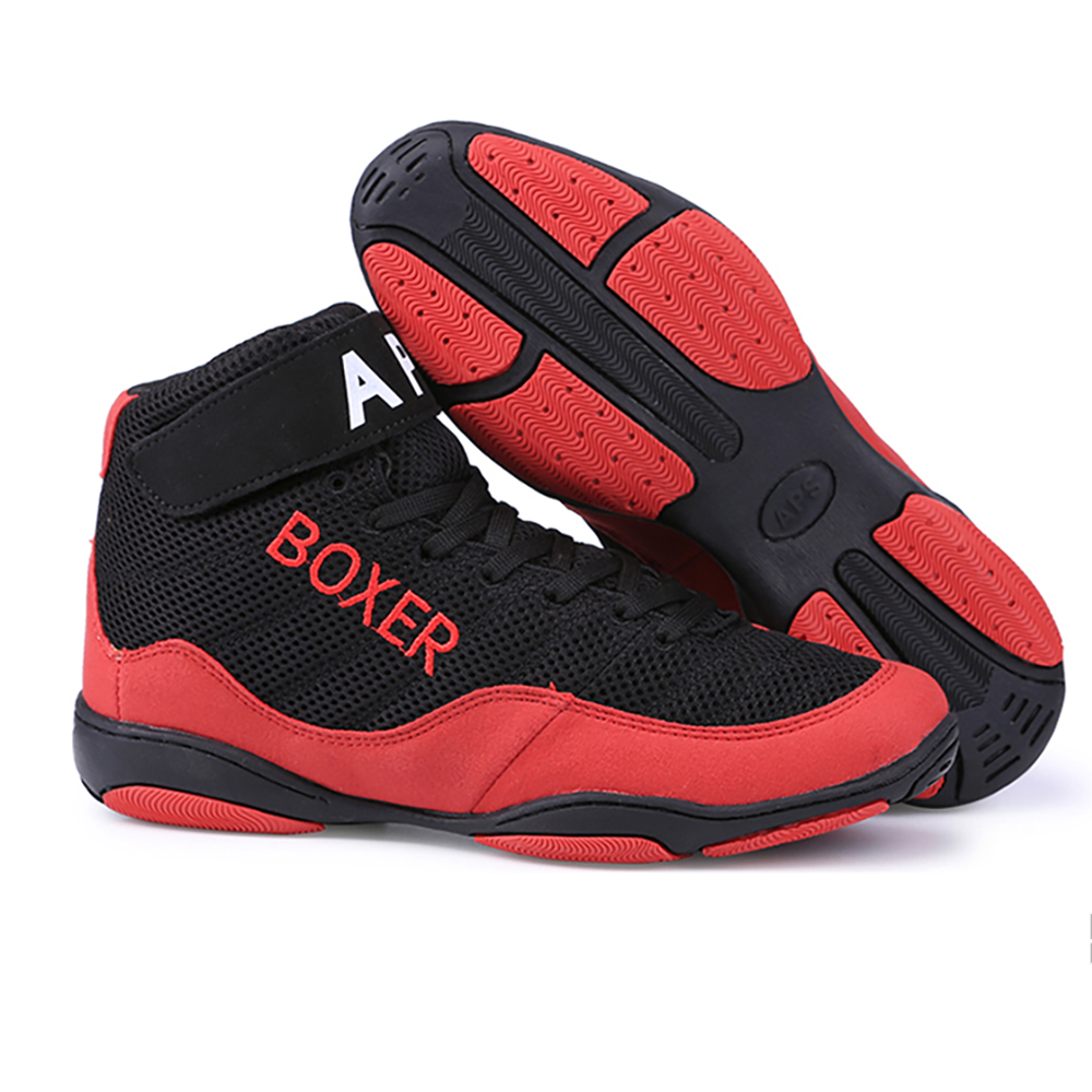 TaoBo BOXER Men Professional Boxing Shoes For Women Wrestling Shoes Lightweight Man Sport Training Sneakers Outsole Lace Up Size