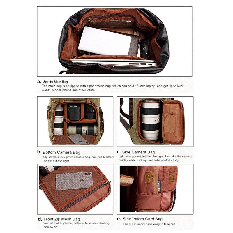 Batik lona impermeable bolsa de fotografía al aire libre resistente al desgaste gran cámara de fotos mochila hombres para Fujifilm Nikon Canon Sony - 4