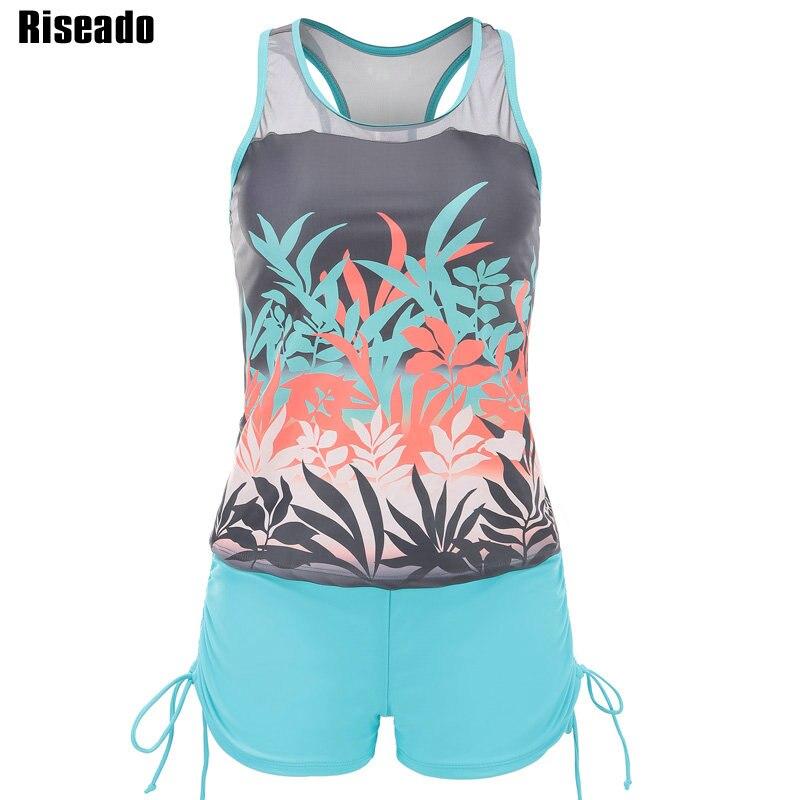 Riseado New Vintage Tankini Set Two-piece Swimsuit Mesh Swimwear Women Floral Print Bathing Suits Boyleg Beach Wear