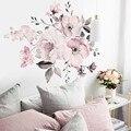 Настенные виниловые наклейки, виниловые Стикеры «сделай сам» с розовыми, белыми акварельными пионами, цветами для гостиной, #40