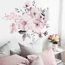 Rosa branco aquarela peônia flores adesivos de parede decalque da parede casa quarto sala estar diy flor vinil decalques #40