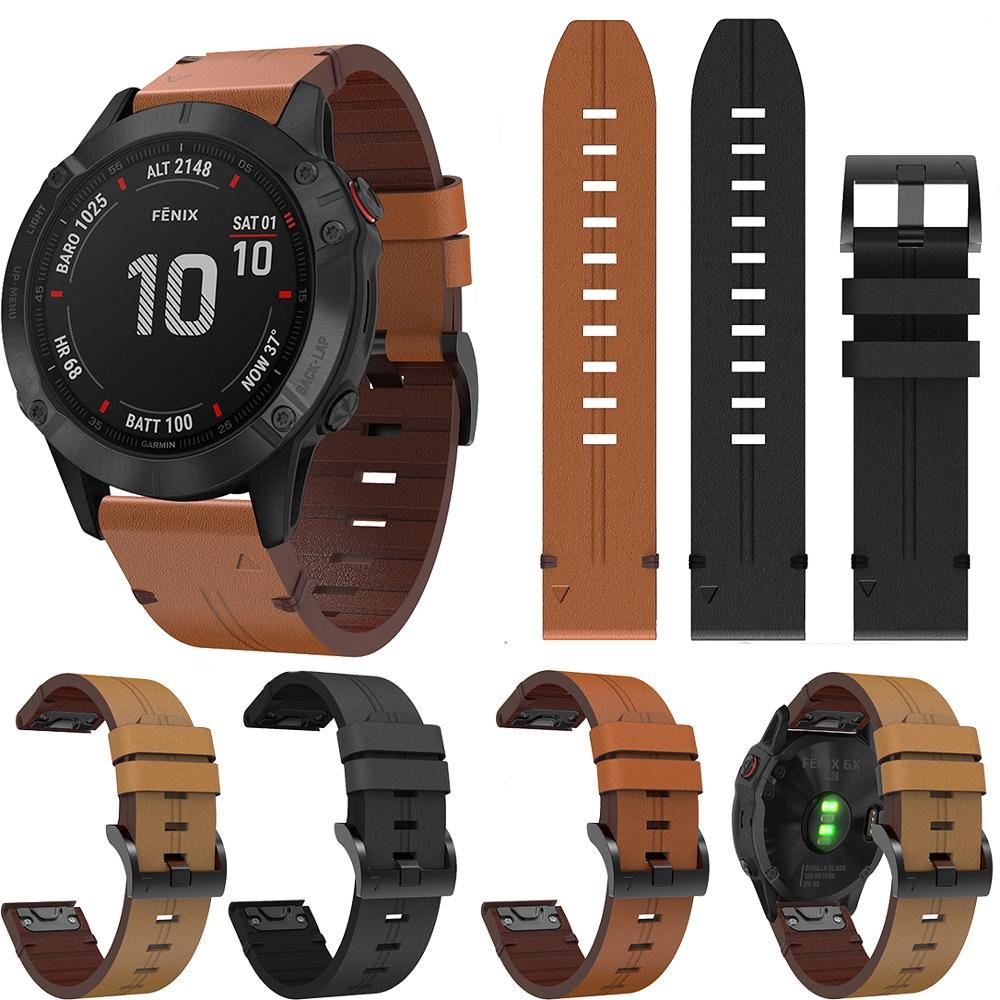 22 26mm pulseira de couro para garmin fenix 6x 6 substituição liberação rápida pulseira para garmin fenix 5x 5 plus 945 pulseira de relógio inteligente