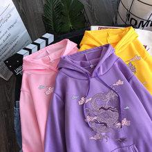 Dragão harajuku impressão do vintage moletom feminino hoodies bonito hip hop kawaii harajuku streetwear oversized solto roupas casuais