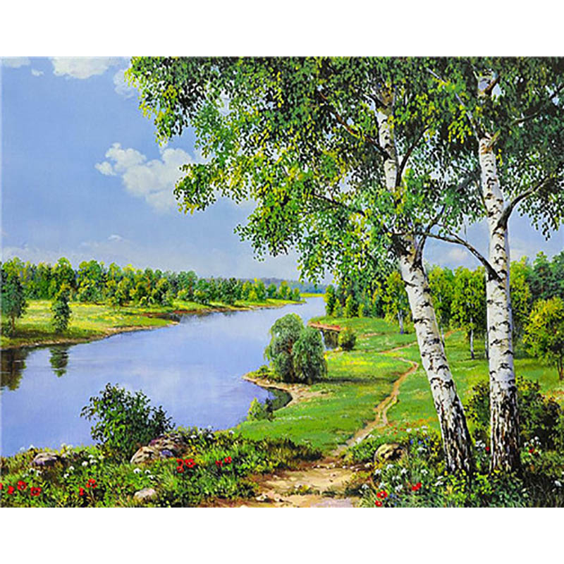 Landscape  Painting By Numbers Paint By Number For Adults DIY Coloring By Numbers Oil Numbered Number Paintings Beach Frame