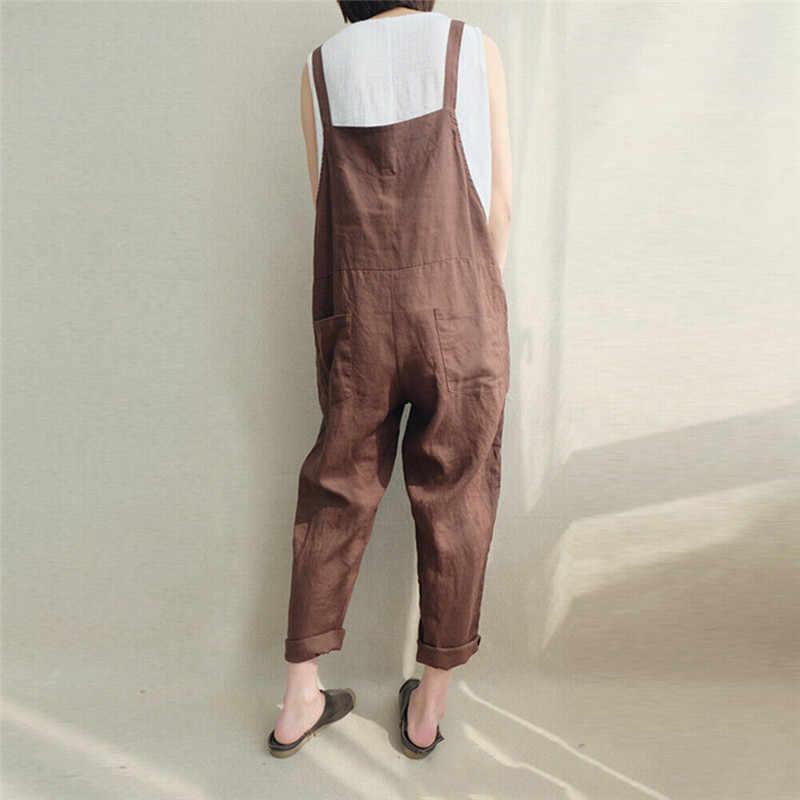 Женский свободный спортивный костюм без рукавов с ремешками; комбинезон; повседневные брюки; Длинные Комбинезоны; боди на лямках; шаровары; брюки; комбинезоны