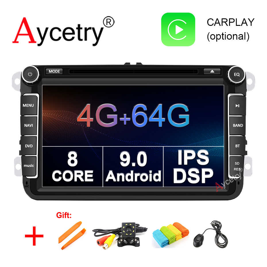 8 Core 4G RAM 64G Android 9,0 reproductor DVD coche 2 din GPS para VW GOLF/5/6/Polo/Passat/CC/B6/B7/Skoda/asiento/Leon auto radio Multimedia