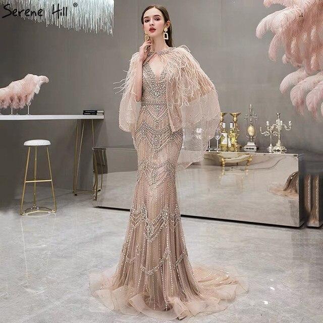 高級シルバーヌード V ネックマーメイドイブニングドレス 2020 ノースリーブショール糸羽セクシーなフォーマルドレス穏やかな丘 LA70171